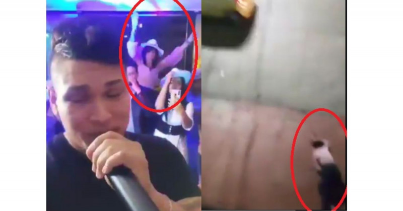 Graban a mujer que se cae de un barandal de segundo piso mientras bailaba (video)