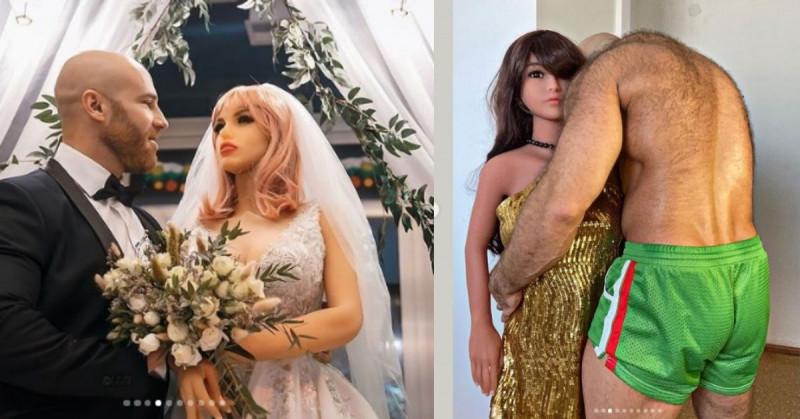 Fisicoculturista que se casó con muñeca inflable anuncia divorcio por infidelidades
