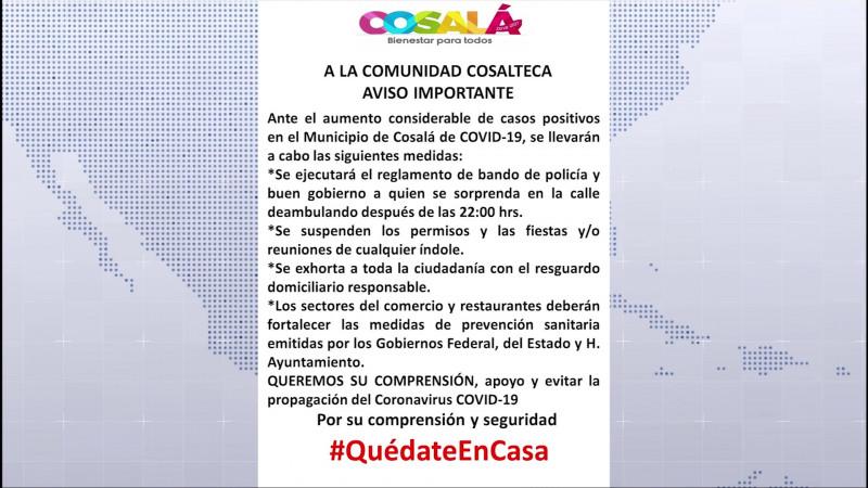 Implementarán toque de queda en Cosalá