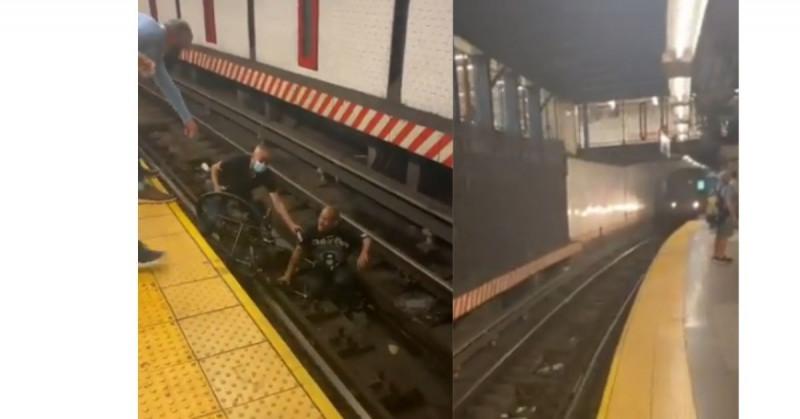 Rescata a hombre en silla de ruedas momentos antes que el metro lo arrollara (video)