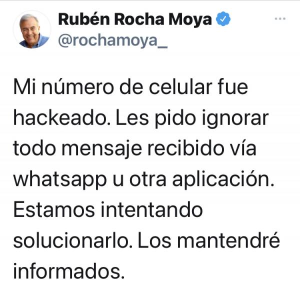 """""""Hackean"""" el teléfono de Rocha Moya"""
