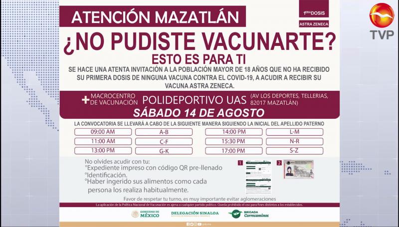 Vacunarán a todas las personas que faltan en Mazatlán