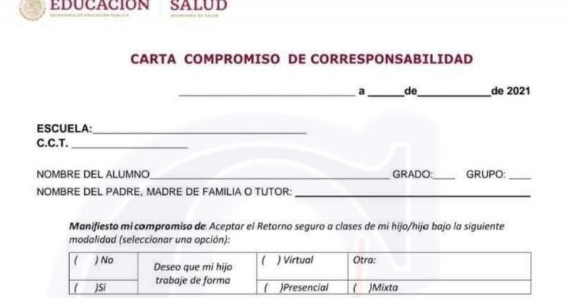"""Esta es la """"Carta compromiso de corresponsabilidad"""" que se tendrá que firmar para el regreso a clases"""