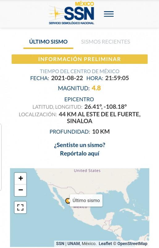 Sismo de 4.7 grados sacude Los Mochis