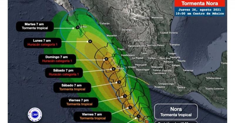 Se forma tormenta tropical Nora y se espera se sienta en Sinaloa este fin de semana