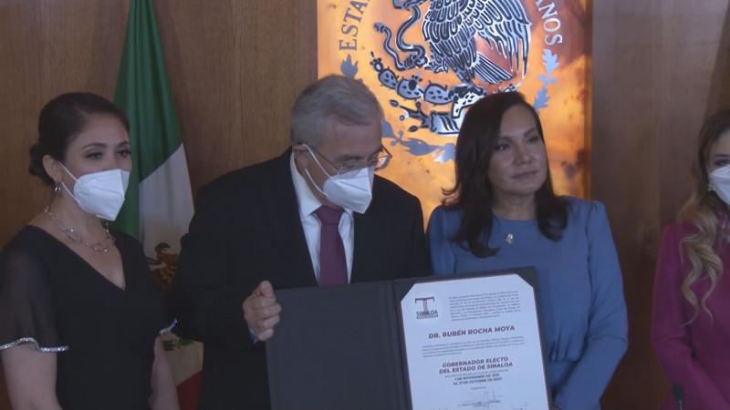Recibe Rocha Moya constancia de validez como gobernador electo de Sinaloa