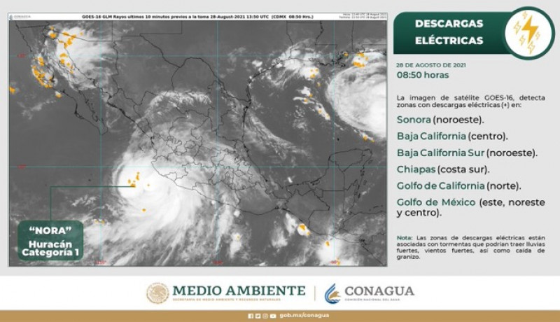 """Nora"" continúa su trayectoria, se esperan lluvias fuertes para Sinaloa"