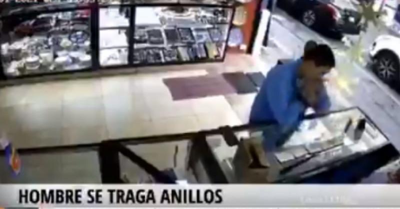 Ladrón de Puebla se traga dos anillos de oro en una joyería (video)