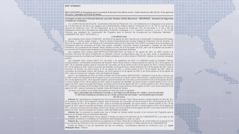 Publican en diario oficial declaratoria de emergencia para 7 municipios de Sinaloa