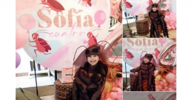 Niña mazatleca se vuelve viral al celebrar su cuarto cumpleaños con temática de cucarachas