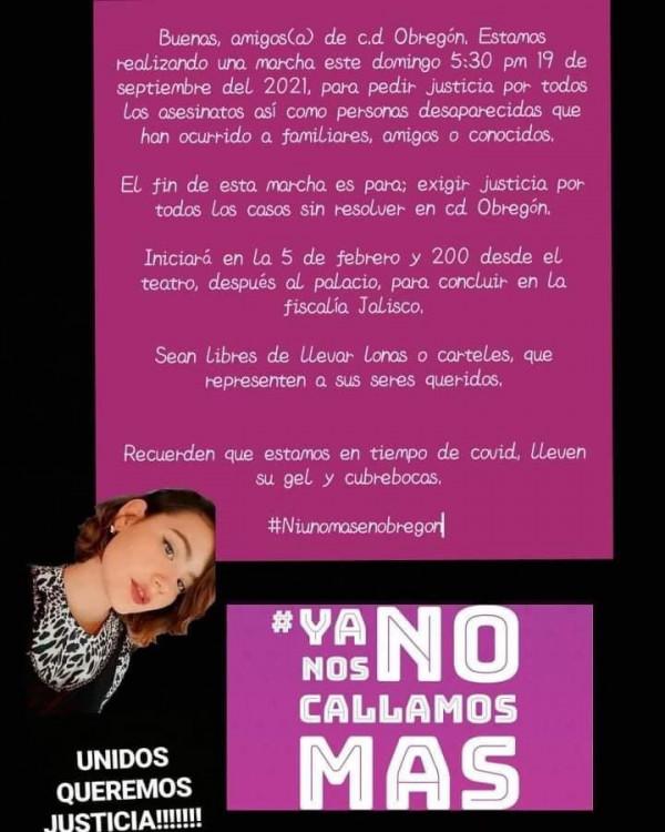 Alistan marcha por Diana Guadalupe