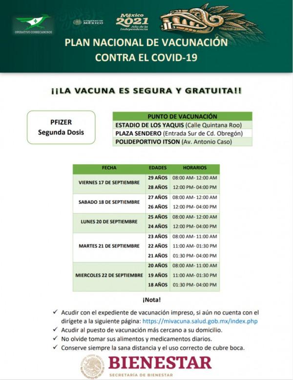 Este 17 de septiembre vacunarán a los de 18 a 29 años de Cajeme urbano