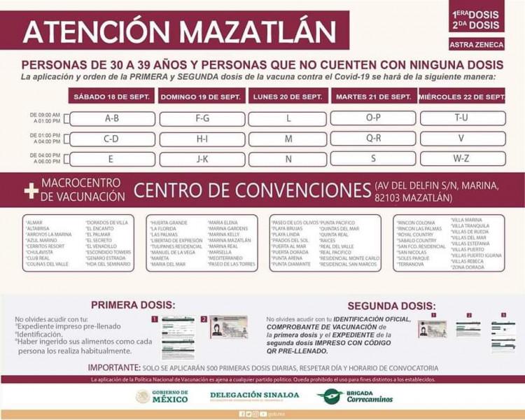 Éste sábado se vacuna con la segunda dosis a personas de 30 a 39 años en Mazatlán