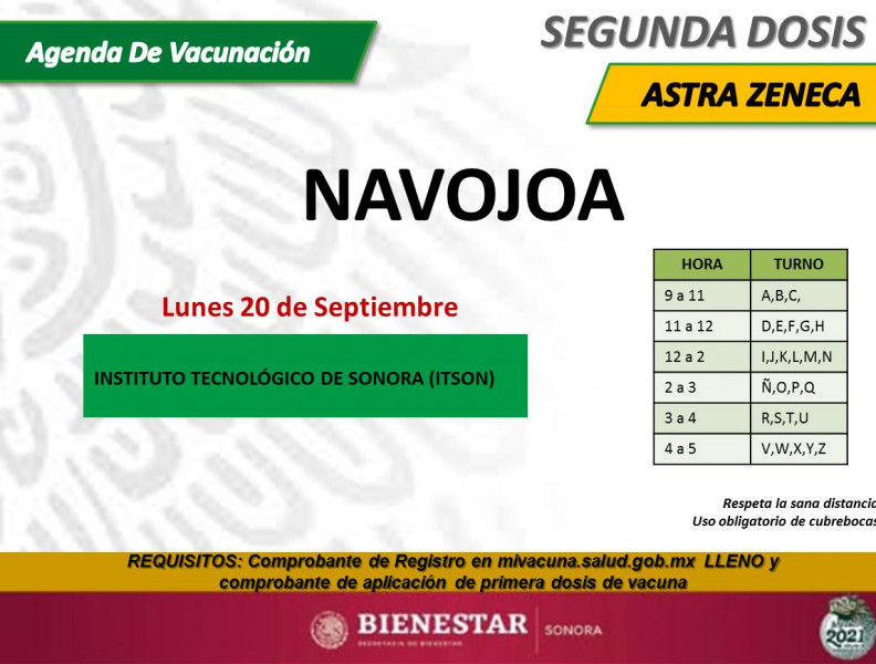En Navojoa se aplicarán segundas dosis, de Sinovac y Aztra Zeneca