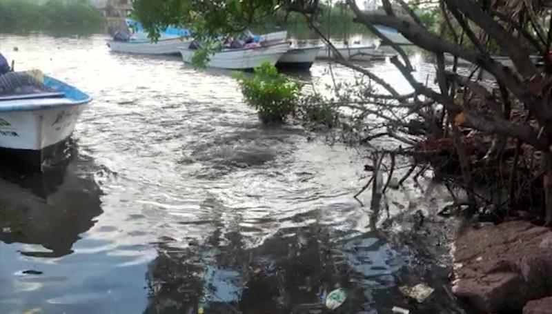 Descargan aguas residuales en el Estero del Infiernillo