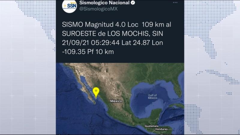 Se registra sismo de 4.0 grados en Los Mochis