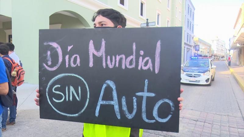 "Celebran con recorrido peatonal ""día Mundial Sin Auto"""
