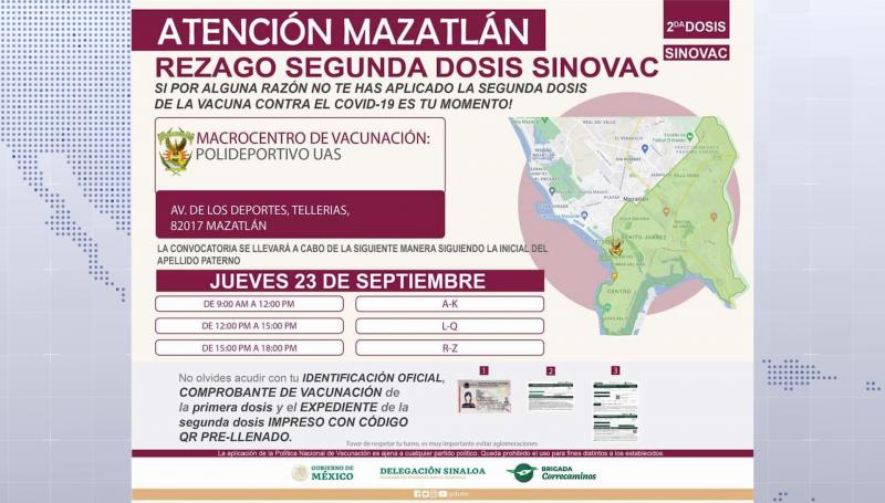 Aplicarán segunda dosis de vacuna Sinovac en Mazatlán