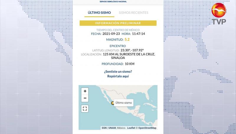 Se registra sismo de magnitud 5.2 en La Cruz, Elota