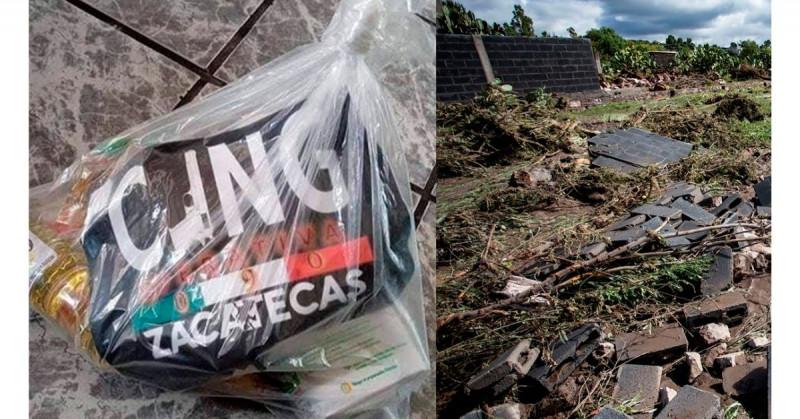 CJNG reparte despensas a damnificados por inundaciones en Zacatecas y genera controversia