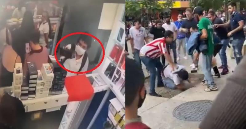 Sorprenden a joven robando un celular y entre varios le dan una golpiza (video)