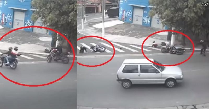 Motociclistas asaltan sin saber a policía y este les sorprende a balazos (video)