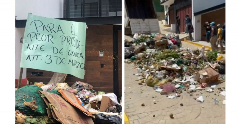 """""""Para el peor presidente"""": vacían camión de basura frente a casa de alcalde de Oaxaca (video)"""