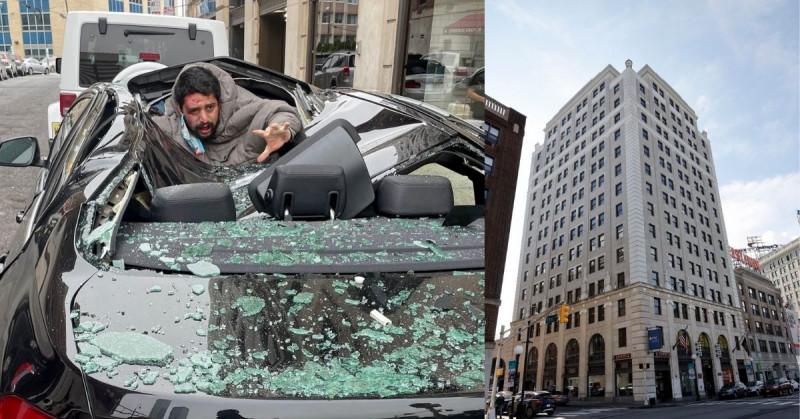 Hombre sobrevive después de lanzarse de un 9no piso y caer sobre un BMW (video)