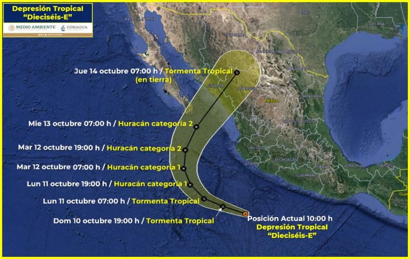 """La depresión tropical """"16 E"""" amenaza a Sinaloa"""