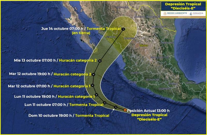 """""""Pamela"""" podría tocar tierra en Sinaloa entre miércoles y jueves: SMN de CONAGUA"""