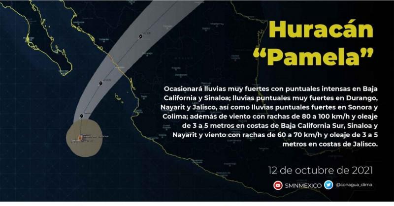 """""""Pamela"""" se convierte en huracán y está a un día de llegar a Sinaloa"""