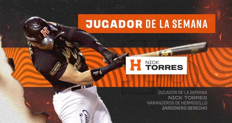 Nick Torres de Naranjeros, el jugador de la semana en la LMP
