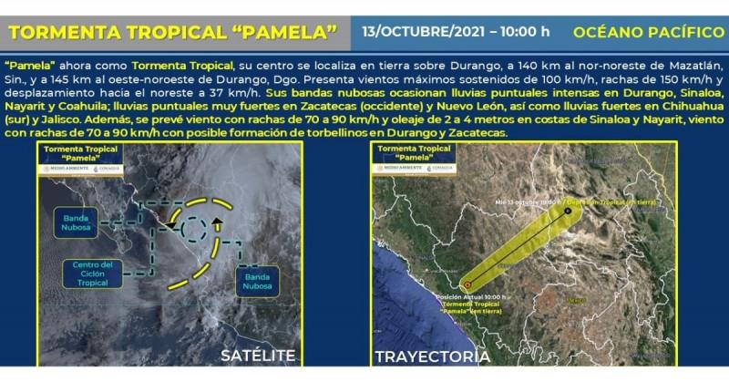 """""""Pamela"""" deja Sinaloa y ahora se encuentra sobre Durango como tormenta tropical"""