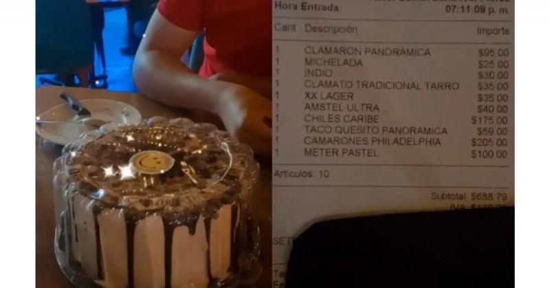 Van a restaurante y les cobran 100 pesos por guardar un pastel de cumpleaños (viral)