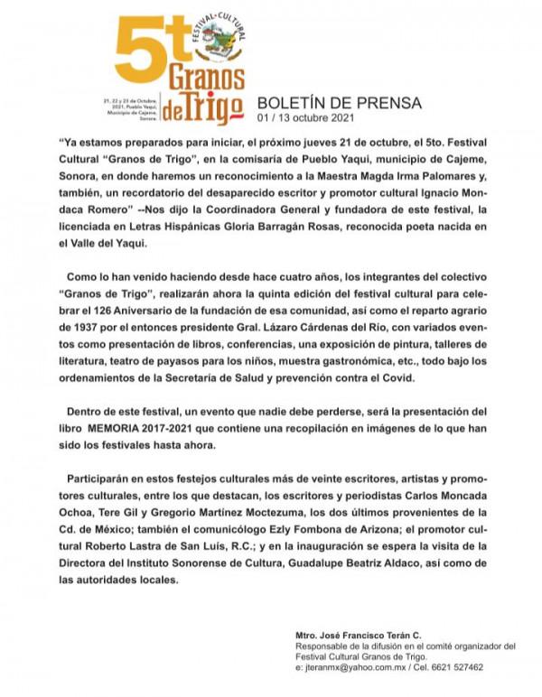 """Será Pueblo Yaqui sede del quinto Festival Cultural """"Granos de Trigo"""""""
